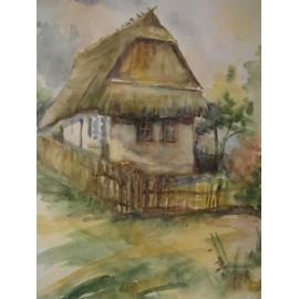 Slamený domček  - ručne maľovaný obraz