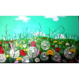 Obraz- ručne maľovaný- Letná lúka