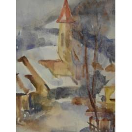 Obraz - Akvarel - Zimná krajina - Mária Lenárdová