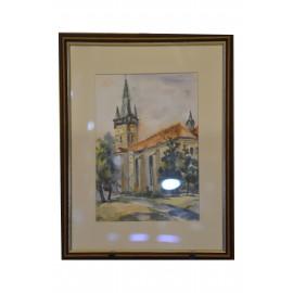 Obraz - Akvarel na výkrese - Kostol sv.Mikuláša - Mária Lenárdová
