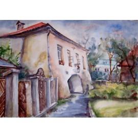 Akvarel, Prešov, Floriánka - ručne maľovaný obraz