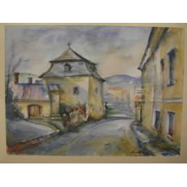 Akvarel, Prešovská ulička - ručne maľovaný obraz