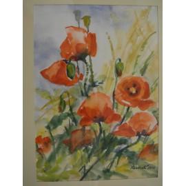 Obraz - Akvarel - Maky - Mária Lenárdová