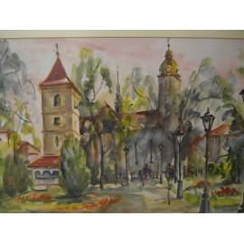 Akvarel , Košice - Dom - Urbanova veža - ručne maľovaný obraz