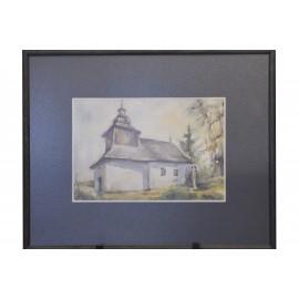 Akvarel, Drevený kostolík - ručne maľovaný obraz