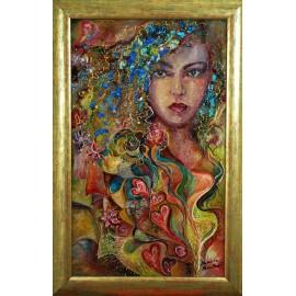 Originálny obraz-Žena s modrými kamienkami