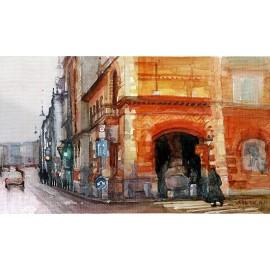 Akvarel-ručne maľovaný originál obraz- krajinka motív-Motiv z Budapešti 3