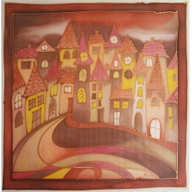 Obraz na hodvábe maľovaný - Domčeky