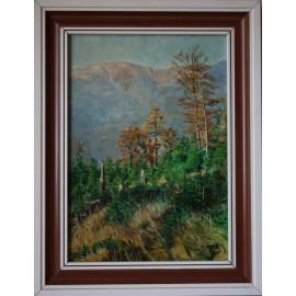 Ručne maľovaný obraz - Kotel, Krkonoše