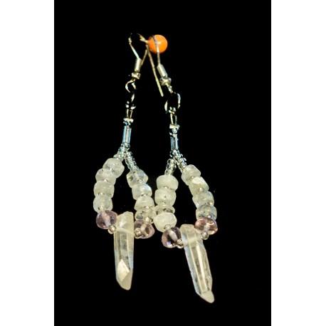 Horský krištáľ, mesačný kameň, ametyst, shell perla - náhrdelník, náušnice
