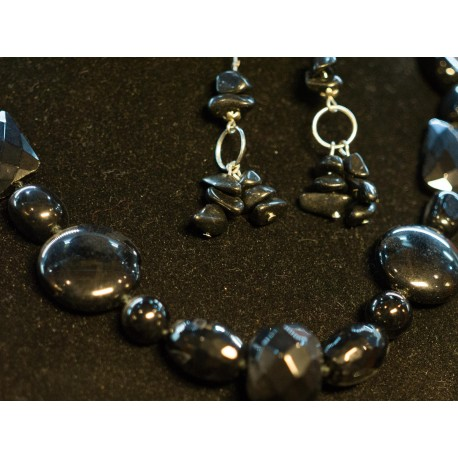 Ónyx, achát - náhrdelník, náušnice
