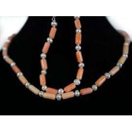 Ružový koral, perla - náhrdelník, náramok