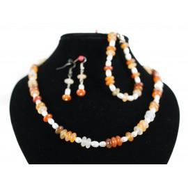 Karneol, perla - náhrdelník, náušnice, náramok
