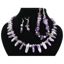 Ametyst - náhrdelník, náramok, náušnice