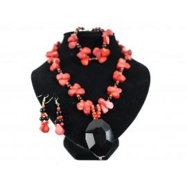 Koral, achát - náhrdelník, náramok, náušnice