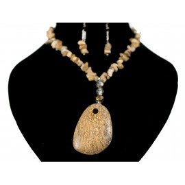 Jaspis obrázkový - náhrdelník, náušnice