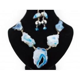 Achát druzy - náhrdelník, náušnice