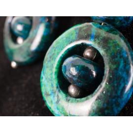 Chrisokol pieskový, avanturín zelený - náhrdelník, náušnice