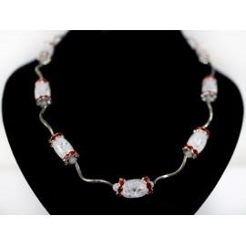 Krištáľ, červené komponenty- náhrdelník, náušnice