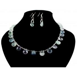 Flourit - náhrdelník, náušnice