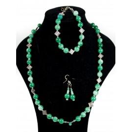 Chryzopras, jadeit - náhrdelník, náušnice, náramok