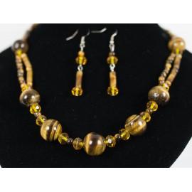 Tigrie oko - náhrdelník, náušnice