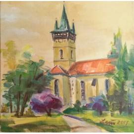 Mária Lenárdová - Kostol sv.Mikuláša s magnóliou Prešov