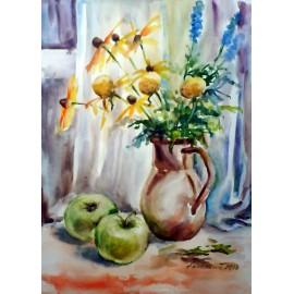 Mária Lenárdová - Zátišie so zelenými jablkami