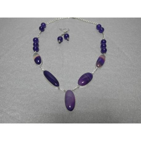 Achát botswana a ametyst - náhrdelník