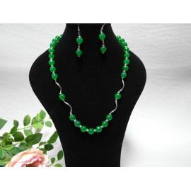 Jadeit zelený-náhrdelník, náušnice