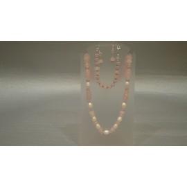 Morganit, swarovského krištáľ a perla - náhrdelník a náušnice