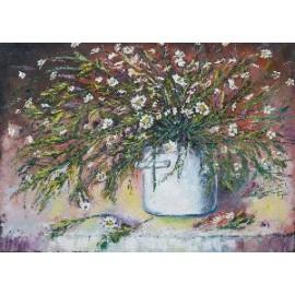 Obraz -Kvety v bielom hrnci