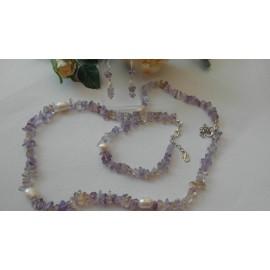 Ametrin,perla-náhrdelník, náramok, náušnice