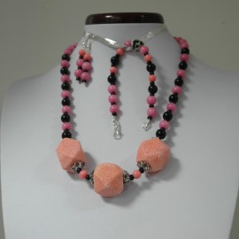 Koral, jadeit, ónyx- náhrdelník, náramok, náušnice