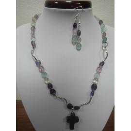 Fluorit - náhrdelník,náušnice