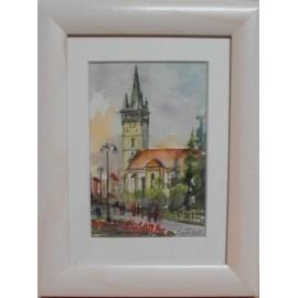 Obraz - Akvarel - Prešov, leto - Mária Lenárdová