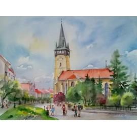 Obraz - Akvarel - Prešovská atmosféra - Mária Lenárdová