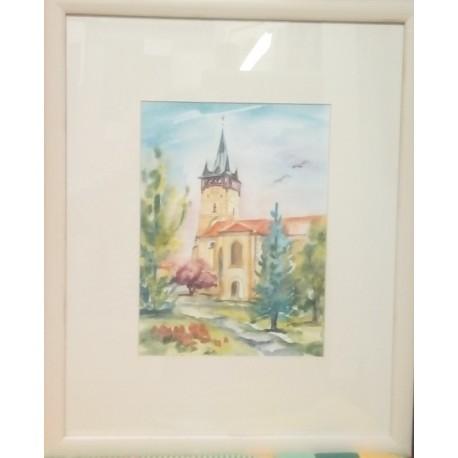 Ručne maľovaný obraz - Prešov,Kostol sv. Mikuláša