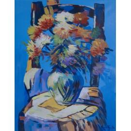Obraz - Akryl - Chryzantémy v modrom - akad. mal. Varuzhan Aghamyan