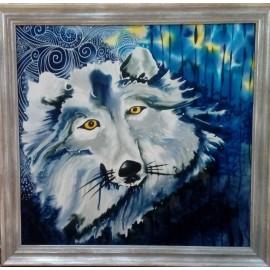 Obraz - Maľba na hodváb - Modrý vlk - PhDr.Elena Rutová