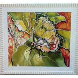 Obraz - Maľba na hodváb - Motýľ v bielom ráme - PhDr.Elena Rutová