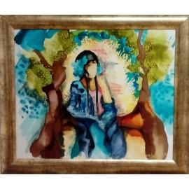 Obraz - Maľba na hodváb - Modrá víla - PhDr.Elena Rutová