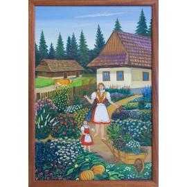 Obraz - Insitná olejomaľba - V záhradke - Miroslav Potoma