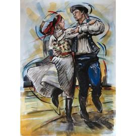 Obraz - Akvarel - Tanec je radosť - Mgr. Art. Ľubomír Korenko