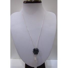 Čierna riečna perla - náhrdelník a náušnice