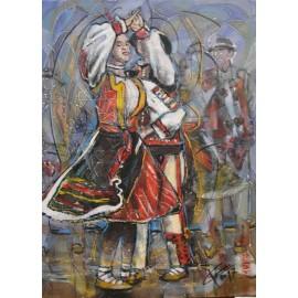 Obraz - Kombinovaná technika - Vo víre tanca - Gorali - Mgr. Art. Ľubomír Korenko