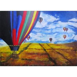 Obraz - Kombinovaná technika - Balónová fiesta - Ing. Lujza Ferková